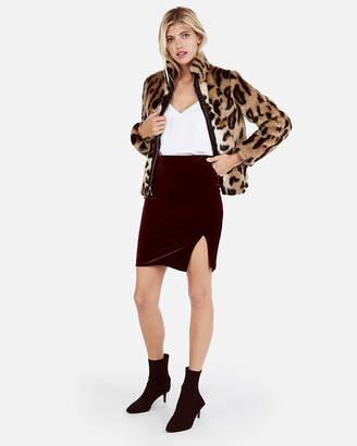 Express High Waisted Velvet Midthigh Skirt