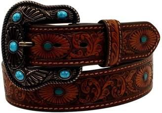 Nocona Belt Company Belt Co. Women's Scroll Embose Painted Tirquoise Oval Belt Accessory