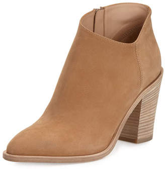 Vince Easton Asymmetric Nubuck 85mm Bootie, Sand $395 thestylecure.com