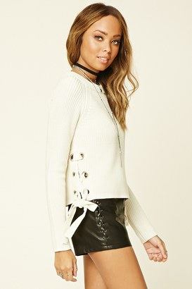 FOREVER 21+ Lace-Up Crew Sweater $22.90 thestylecure.com