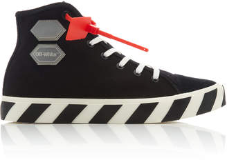 Off-White Striped Cotton-Canvas High-Top Sneakers
