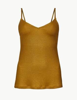 Marks and Spencer Shimmer Ribbed V-Neck Vest Top