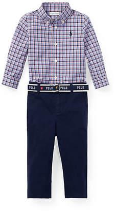 Ralph Lauren Baby Boy's Three-Piece Cotton Plaid Shirt, Chino Belt Set