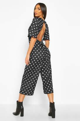 boohoo Polka Dot Flared Sleeve Culotte Jumpsuit