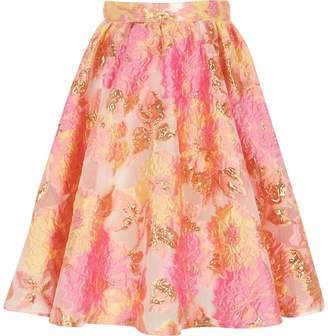River Island Girls Pink and yellow jacquard prom skirt