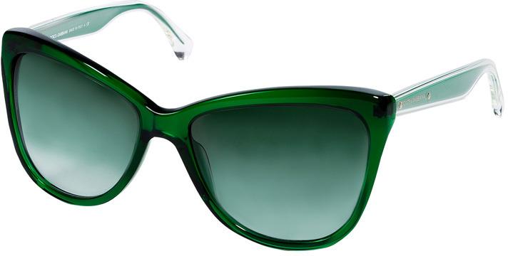 Dolce & Gabbana Transparent Green Acetate Cat-Eye Gradient Sunglasses