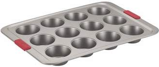 Cake Boss Basics Non-Stick Bakeware 12-Cup Muffin Pan, Light Gray with Red Silicone Grips