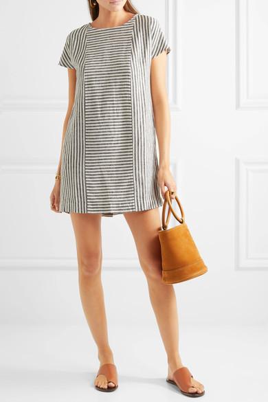 Madewell - Daphne Striped Linen-blend Mini Dress - Gray 3