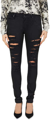 Black Orchid Jude Distressed Mid-Rise Skinny Jeans, Black