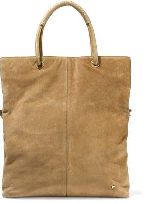 Halston Leather-Trimmed Suede Tote