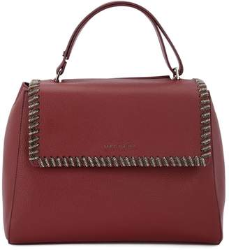 Orciani Sveva Medium Bordeaux Tumbled Leather Handbag With Chain