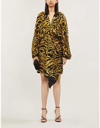 Halpern Draped sequin-embellished woven mini dress