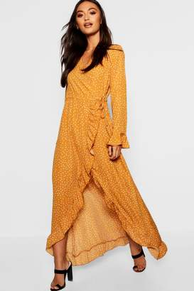 boohoo Petite Wrap Print Midi Dress