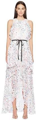 ML Monique Lhuillier Sleeveless Tie Waist Garden High-Low Dress Women's Dress