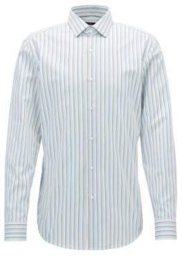 BOSS Hugo Striped Cotton Dress Shirt, Slim Fit Ismo 14.5 Yellow