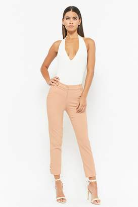 Forever 21 Faux Pearl-Button Skinny Pants
