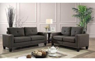 Furniture of America Contemporary Redford Nailhead Sofa and Love Seat