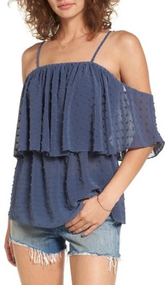 Women's Sun & Shadow Swiss Dot Off The Shoulder Top $45 thestylecure.com