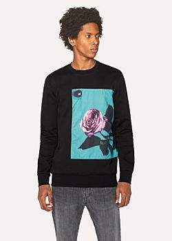 Paul Smith Men's Black Sweatshirt With Appliqué 'Rose' Print