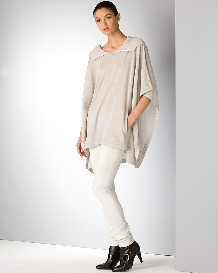 Helmut Lang Irregular Stitch Hooded Poncho and Skinny Pants