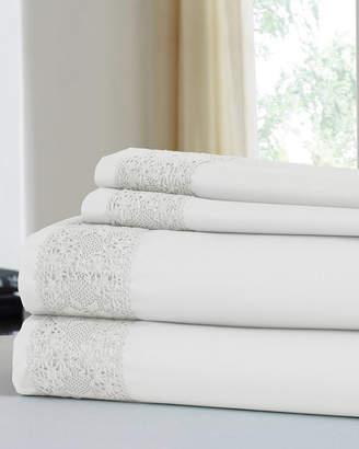 Colonial Home 600 Thread Count Cotton Rich Diamond Lace Hem 4Pc Sheet Set