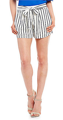 Skies Are Blue Stripe Tie Front Shorts $59 thestylecure.com