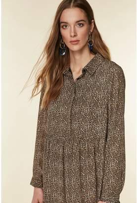Wallis Tiered Animal Shirt Dress - Black