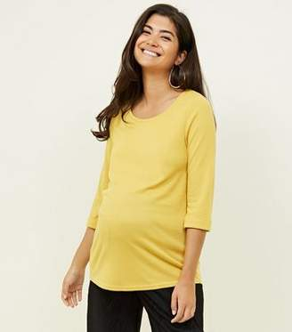 New Look Maternity Yellow 3/4 Sleeve Fine Knit Top