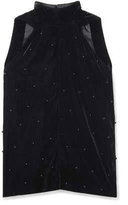 RtA Birdie Bead-embellished Velvet Halterneck Top - Black