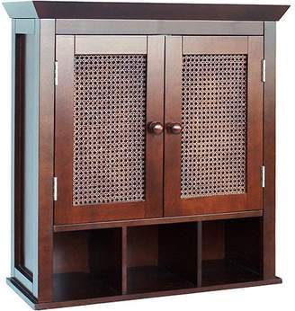 Elegant Home Fashions Evelyn Two-Door Wall Cabinet with Cubbies, Espresso