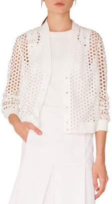 Akris Punto V-Neck Press-Button Lace Bomber Jacket