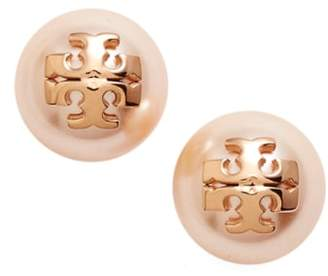 Tory Burch Swarovski Crystal Pearl Logo Stud Earrings