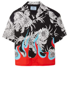 Prada Floral and Flame Printed Cotton-Poplin Shirt