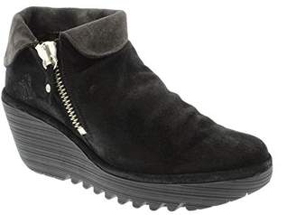 74721b90fb3c Fly London Womens Yoxi Oil Suede Fold Cuff Wedge Platform Heel Ankle Boot