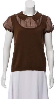 Alberta Ferretti Short Sleeve Wool Top