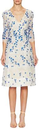 Monique Lhuillier Women's Lace Floral Applique Flared Dress