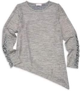 Design History Girl's Woven Sleeve Asymmetrical Top