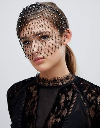 Asos Design DESIGN headband with disco crystal studded veil in black