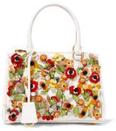 Prada Galleria Garden 迷你贴花纹理皮革手提包