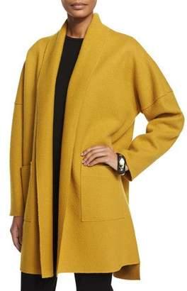 Eileen Fisher Boiled Wool Kimono Coat, Mustard, Plus Size