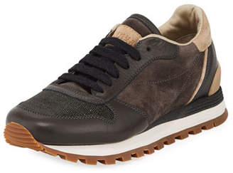 Brunello Cucinelli Suede/Leather Monili-Toe Trainer Sneaker
