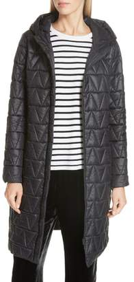 Eileen Fisher Hooded Quilted Coat