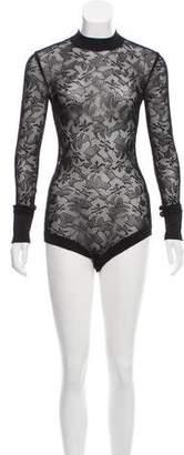 Balmain Long Sleeve Lace Bodysuit