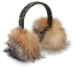 Surell Tweed& Sequin Dyed Fox Fur Earmuffs