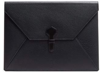 Dunhill Boston Large Grained Leather Envelope Pouch - Mens - Navy