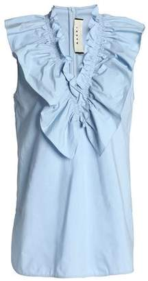 Marni Ruffled Ruched Cotton-Poplin Top