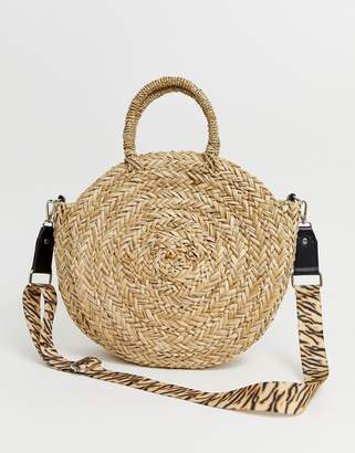 South Beach round straw beach bag with cross body strap