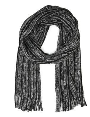 Aston Grey Knit Stripe Scarf