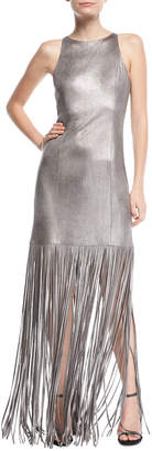 Halston Fringed Metallic Faux-Suede Gown