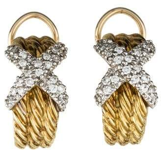 David Yurman 14K Diamond X Cable Hoop Earrings